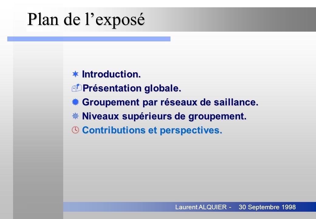 30 Septembre 1998Laurent ALQUIER - Plan de lexposé ¬Introduction. Présentation globale. ®Groupement par réseaux de saillance. ¯Niveaux supérieurs de