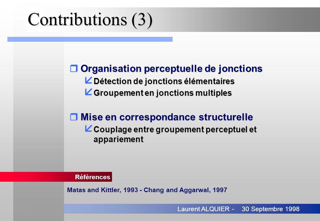 30 Septembre 1998Laurent ALQUIER - Contributions (3) rOrganisation perceptuelle de jonctions å Détection de jonctions élémentaires å Groupement en jon