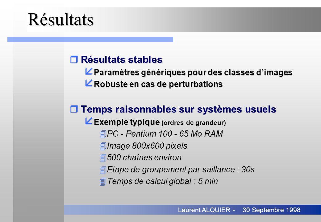 30 Septembre 1998Laurent ALQUIER -Résultats rRésultats stables å Paramètres génériques pour des classes dimages å Robuste en cas de perturbations rTem