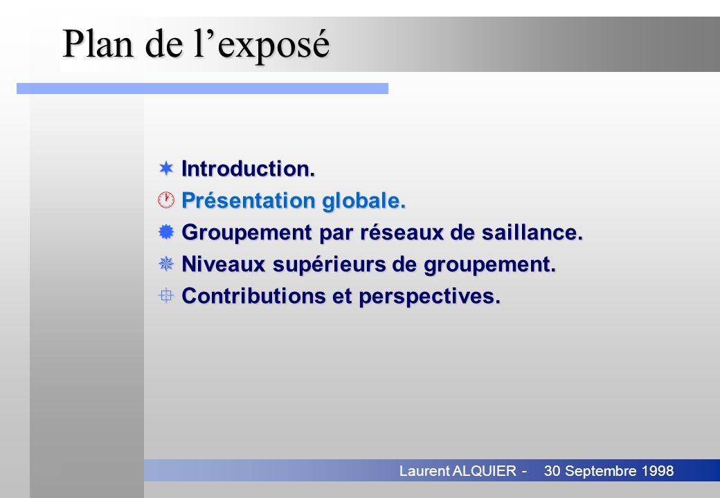 30 Septembre 1998Laurent ALQUIER - Plan de lexposé ¬Introduction. ·Présentation globale. ®Groupement par réseaux de saillance. ¯Niveaux supérieurs de