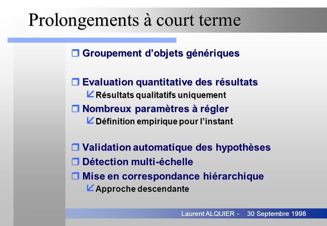 30 Septembre 1998Laurent ALQUIER - Prolongements à court terme rGroupement dobjets génériques rEvaluation quantitative des résultats å Résultats quali