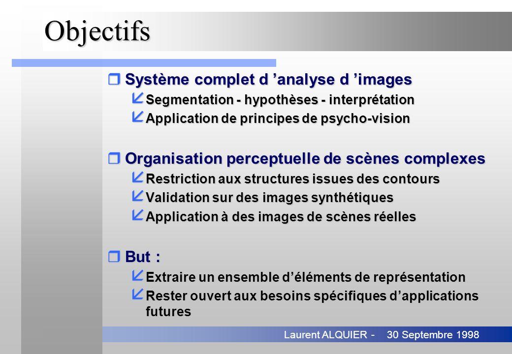 30 Septembre 1998Laurent ALQUIER -Objectifs rSystème complet d analyse d images å Segmentation - hypothèses - interprétation å Application de principe