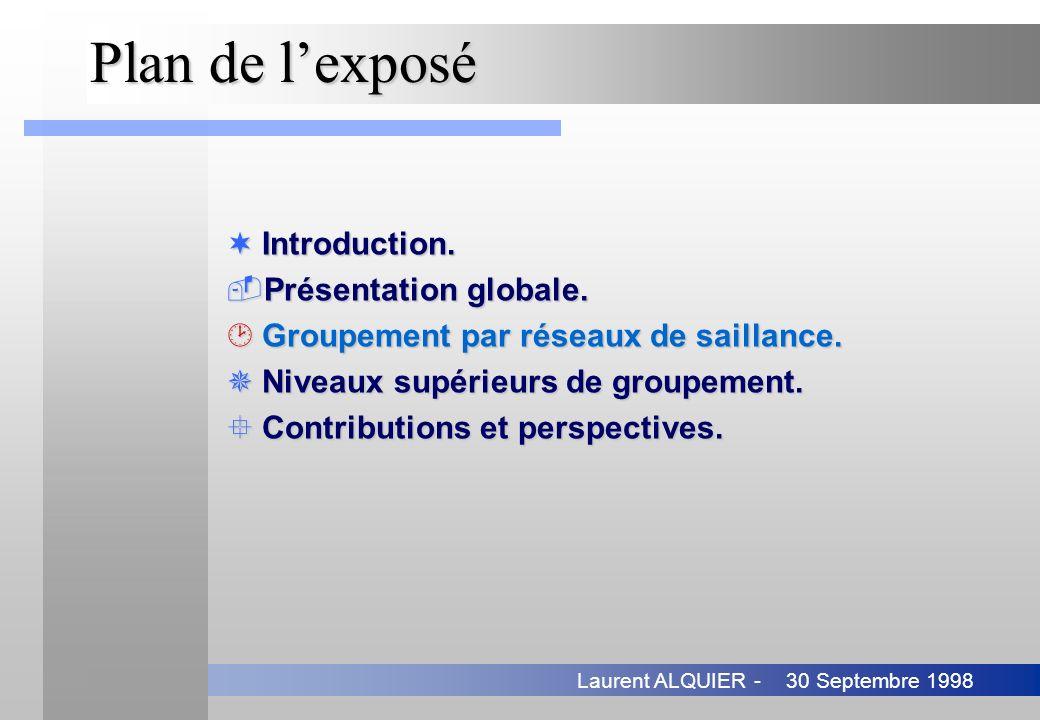 30 Septembre 1998Laurent ALQUIER - Plan de lexposé ¬Introduction. Présentation globale. ¸Groupement par réseaux de saillance. ¯Niveaux supérieurs de