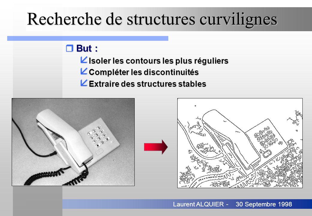 30 Septembre 1998Laurent ALQUIER - Recherche de structures curvilignes rBut : å Isoler les contours les plus réguliers å Compléter les discontinuités