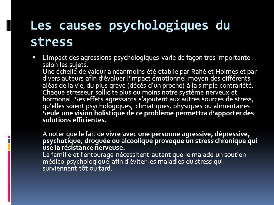 Les causes psychologiques du stress L'impact des agressions psychologiques varie de façon très importante selon les sujets. Une échelle de valeur a
