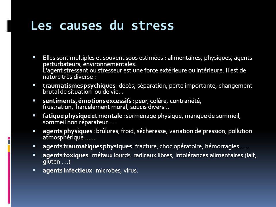 Les causes du stress Elles sont multiples et souvent sous estimées : alimentaires, physiques, agents perturbateurs, environnementales.