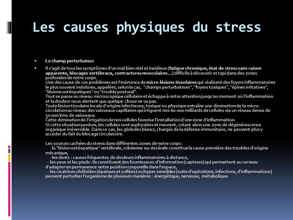 Les causes physiques du stress Le champ perturbateur Il s agit de tous les symptômes d un mal bien réel et insidieux (fatigue chronique, état de stress sans raison apparente, blocages vertébraux, contractures musculaires...) difficile à découvrir et tapi dans des zones profondes de notre corps.