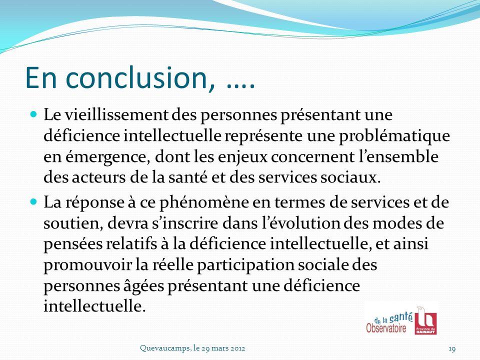 En parallèle, laménagement des curriculums de formation des intervenants du domaine du social devra favoriser leur sensibilisation à la spécificité de laccompagnement des personnes âgées présentant une déficience intellectuelle.