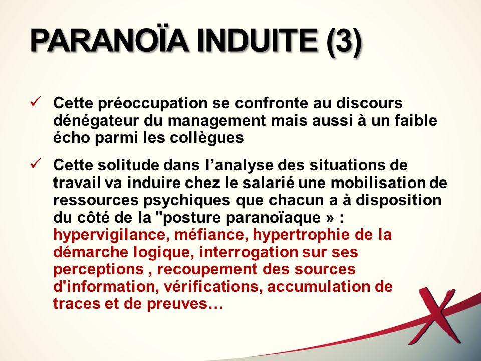 PARANOÏA INDUITE (3) Cette préoccupation se confronte au discours dénégateur du management mais aussi à un faible écho parmi les collègues Cette solit