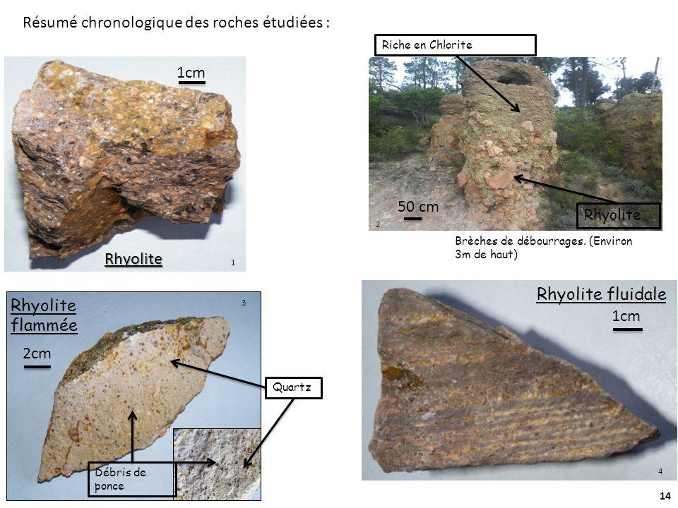 14 Rhyoli te Brèches de débourrages. (Environ 3m de haut) Rhyolite flammée Débris de ponce Quartz Rhyolite Riche en Chlorite 50 cm 2cm Rhyolite 1cm Rh