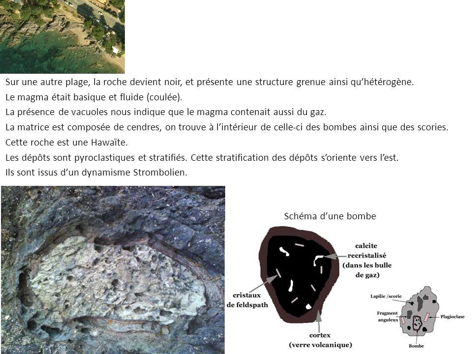 Sur une autre plage, la roche devient noir, et présente une structure grenue ainsi quhétérogène. Le magma était basique et fluide (coulée). La présenc