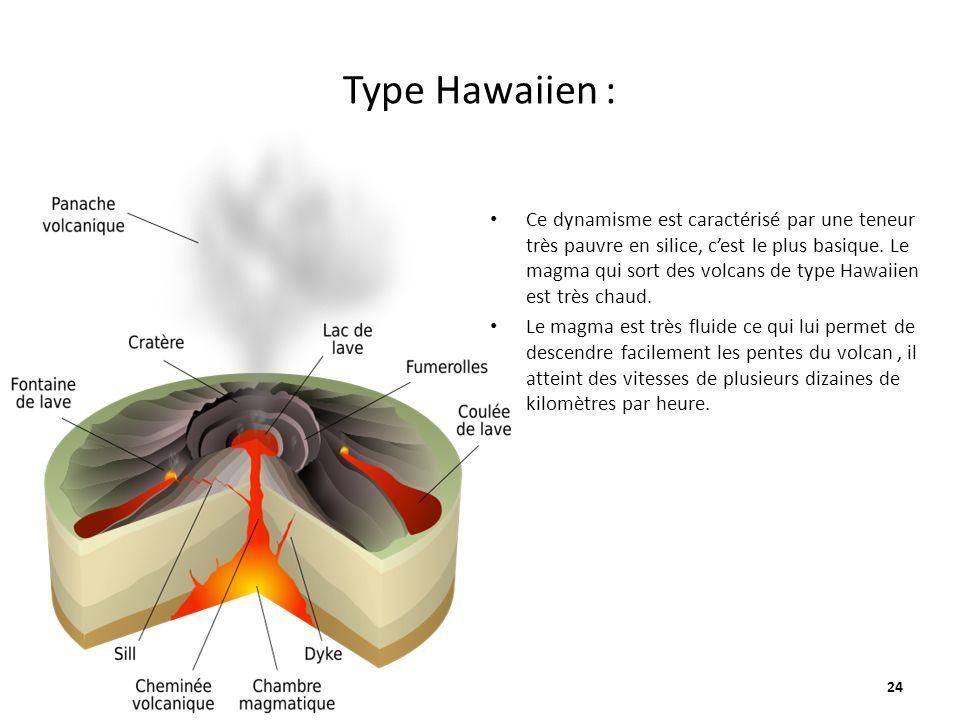Type Hawaiien : 24 Ce dynamisme est caractérisé par une teneur très pauvre en silice, cest le plus basique.