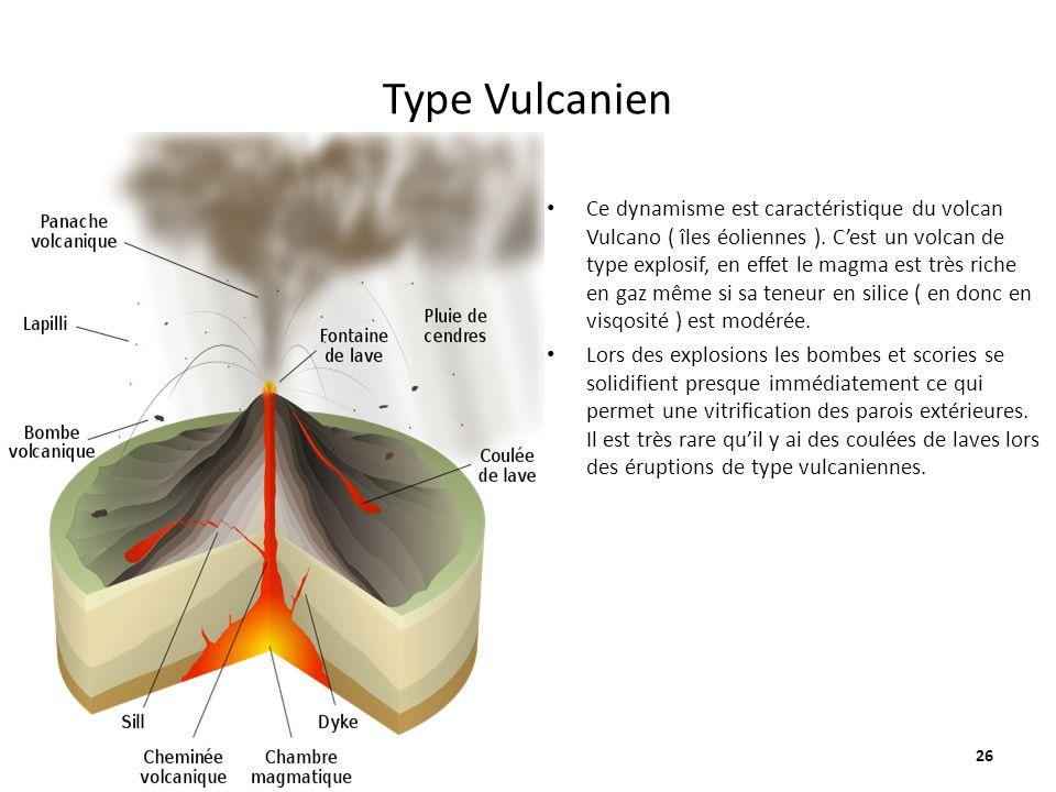 Type Vulcanien Ce dynamisme est caractéristique du volcan Vulcano ( îles éoliennes ). Cest un volcan de type explosif, en effet le magma est très rich