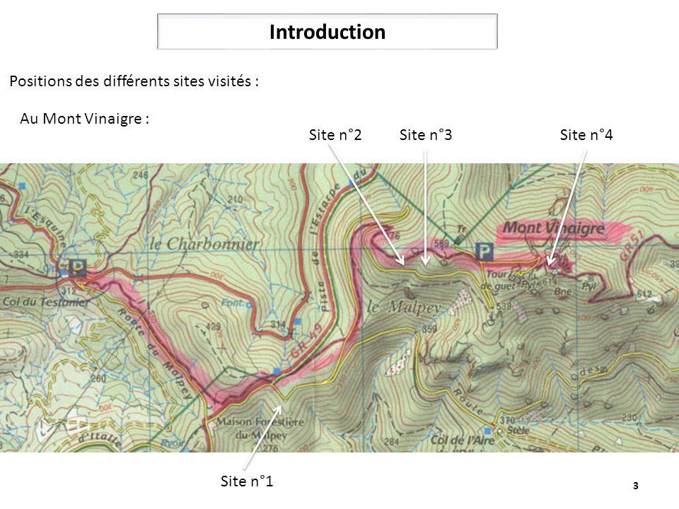 3 Introduction Site n°1 Site n°2 Site n°3Site n°4 Positions des différents sites visités : Au Mont Vinaigre :
