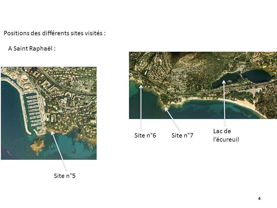 4 Site n°5 Site n°6Site n°7 Positions des différents sites visités : A Saint Raphaël : Lac de lécureuil