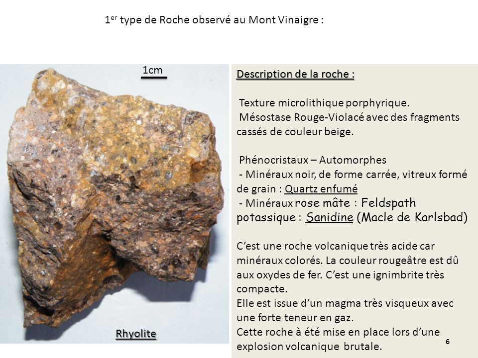 Description de la roche : Texture microlithique porphyrique. Mésostase Rouge-Violacé avec des fragments cassés de couleur beige. Phénocristaux – Autom