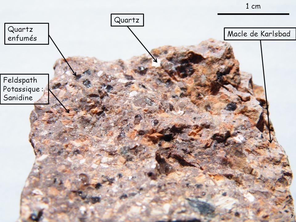 Quartz enfumés 1 cm Feldspath Potassique : Sanidine Macle de Karlsbad Quartz 7