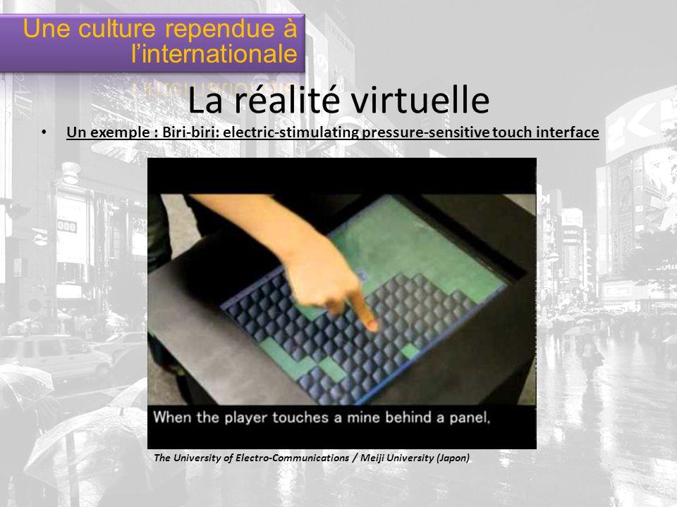 Un exemple : Biri-biri: electric-stimulating pressure-sensitive touch interface The University of Electro-Communications / Meiji University (Japon) La réalité virtuelle