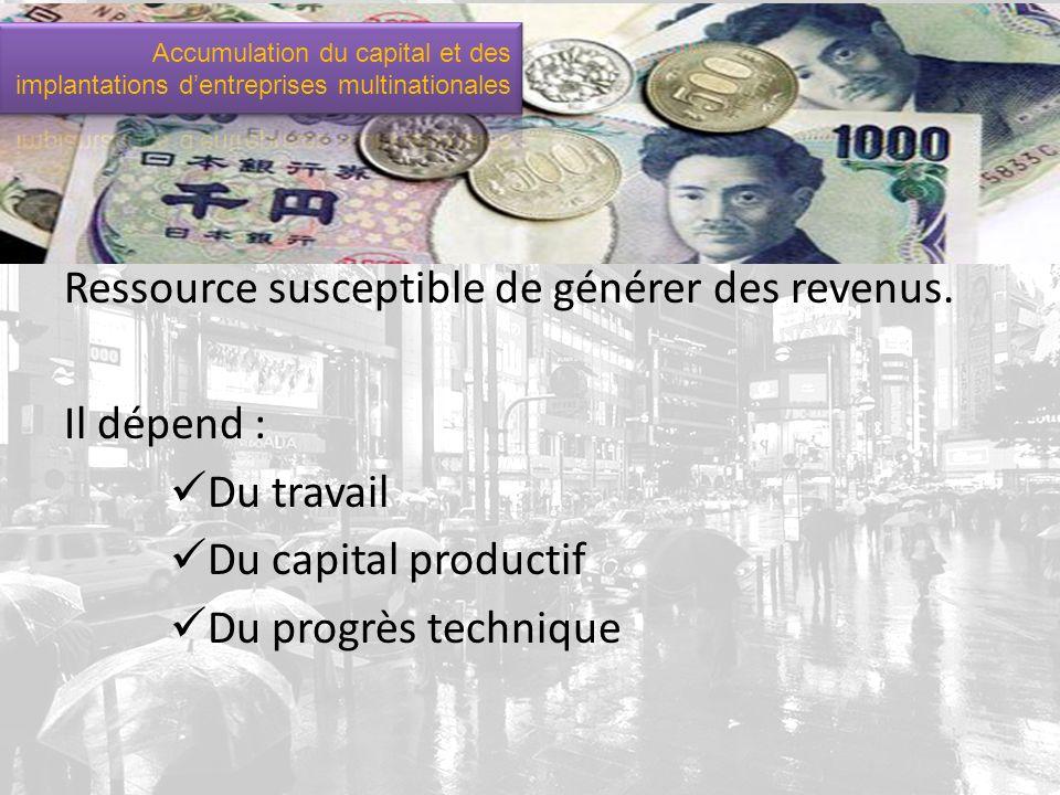 Qu est-ce que le capital.Ressource susceptible de générer des revenus.