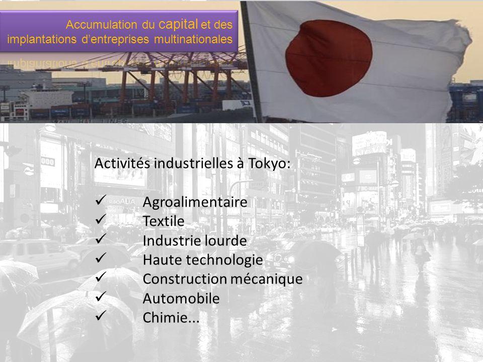 Activités industrielles à Tokyo: Agroalimentaire Textile Industrie lourde Haute technologie Construction mécanique Automobile Chimie...
