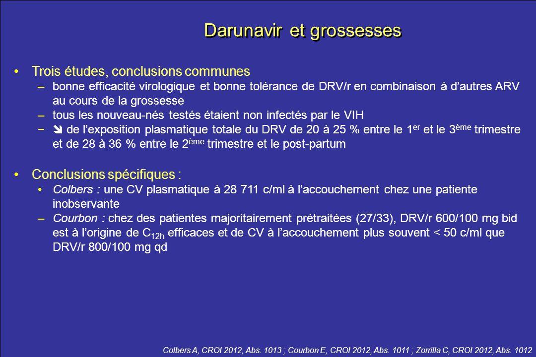 le meilleur …de la CROI 2012 Darunavir et grossesses Trois études, conclusions communes –bonne efficacité virologique et bonne tolérance de DRV/r en c