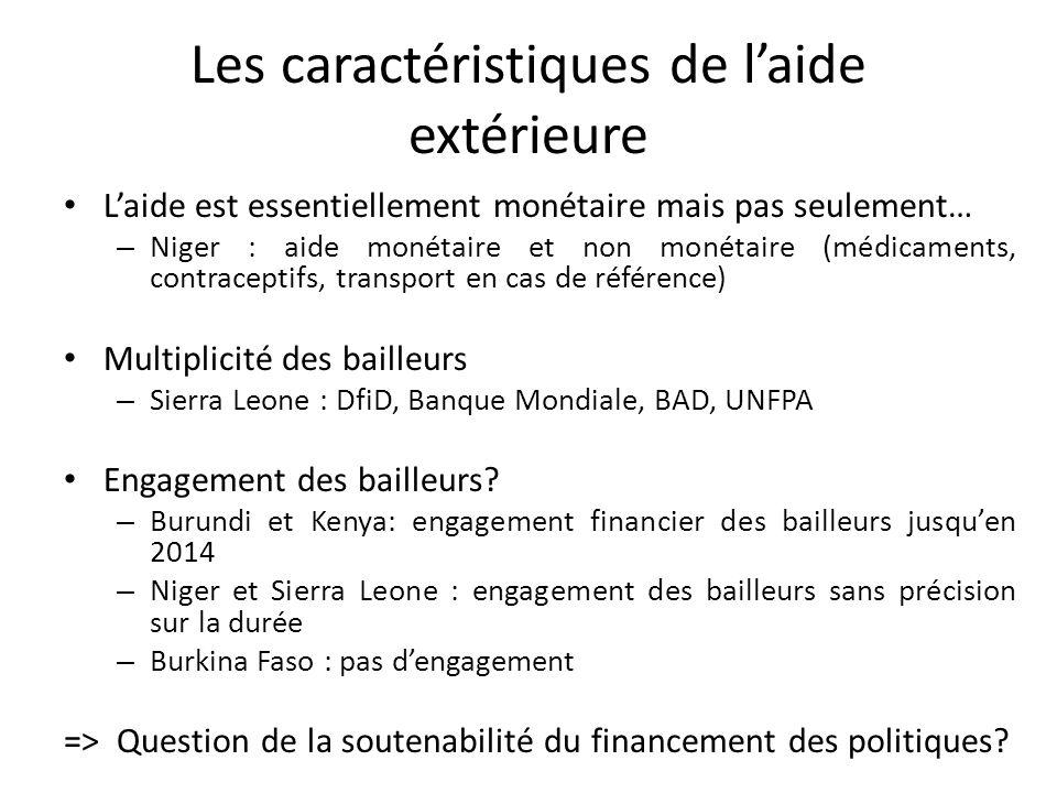 Les caractéristiques de laide extérieure Laide est essentiellement monétaire mais pas seulement… – Niger : aide monétaire et non monétaire (médicaments, contraceptifs, transport en cas de référence) Multiplicité des bailleurs – Sierra Leone : DfiD, Banque Mondiale, BAD, UNFPA Engagement des bailleurs.