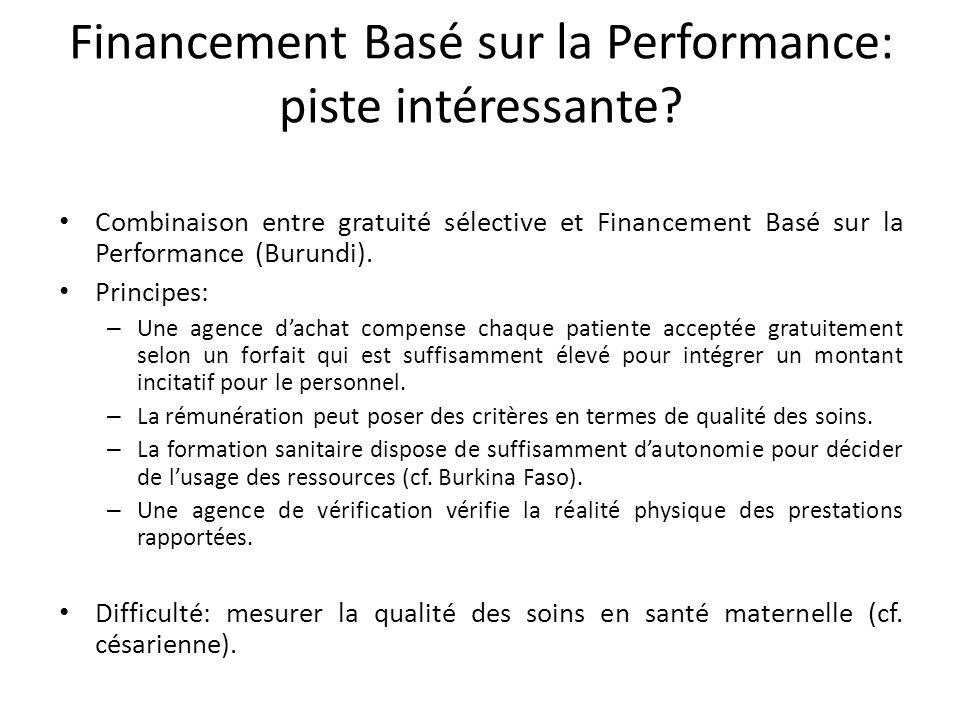 Financement Basé sur la Performance: piste intéressante.