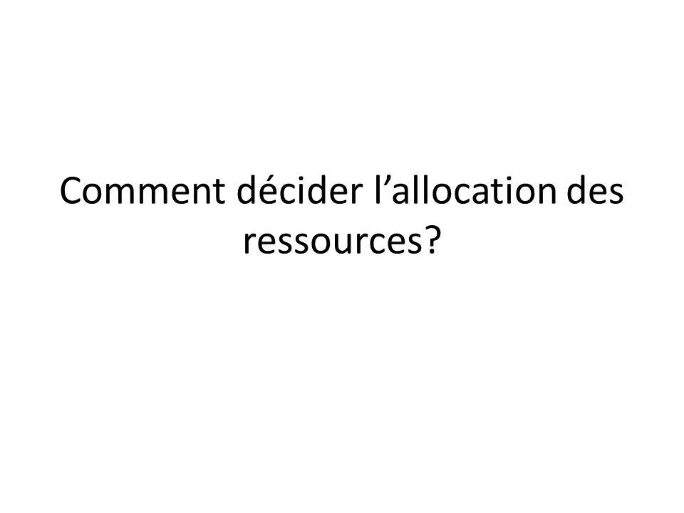 Comment décider lallocation des ressources?