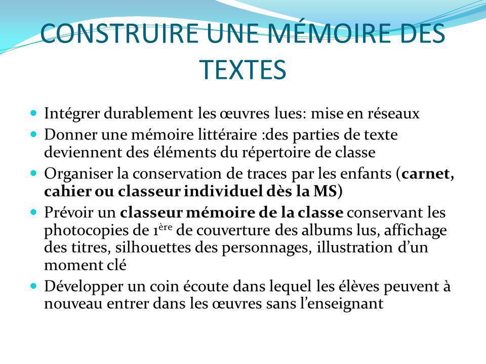 CONSTRUIRE UNE MÉMOIRE DES TEXTES Intégrer durablement les œuvres lues: mise en réseaux Donner une mémoire littéraire :des parties de texte deviennent