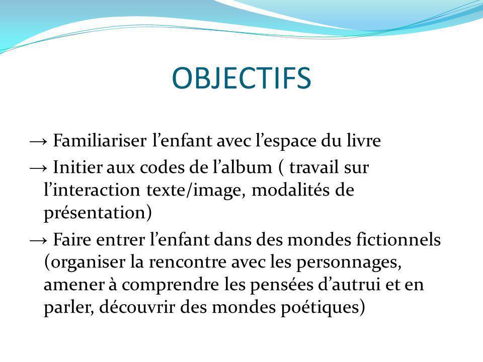 OBJECTIFS Familiariser lenfant avec lespace du livre Initier aux codes de lalbum ( travail sur linteraction texte/image, modalités de présentation) Fa