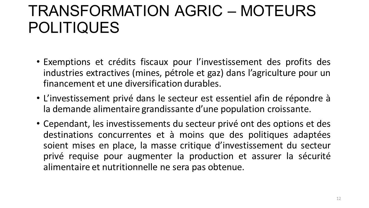 TRANSFORMATION AGRIC – MOTEURS POLITIQUES Exemptions et crédits fiscaux pour linvestissement des profits des industries extractives (mines, pétrole et gaz) dans lagriculture pour un financement et une diversification durables.
