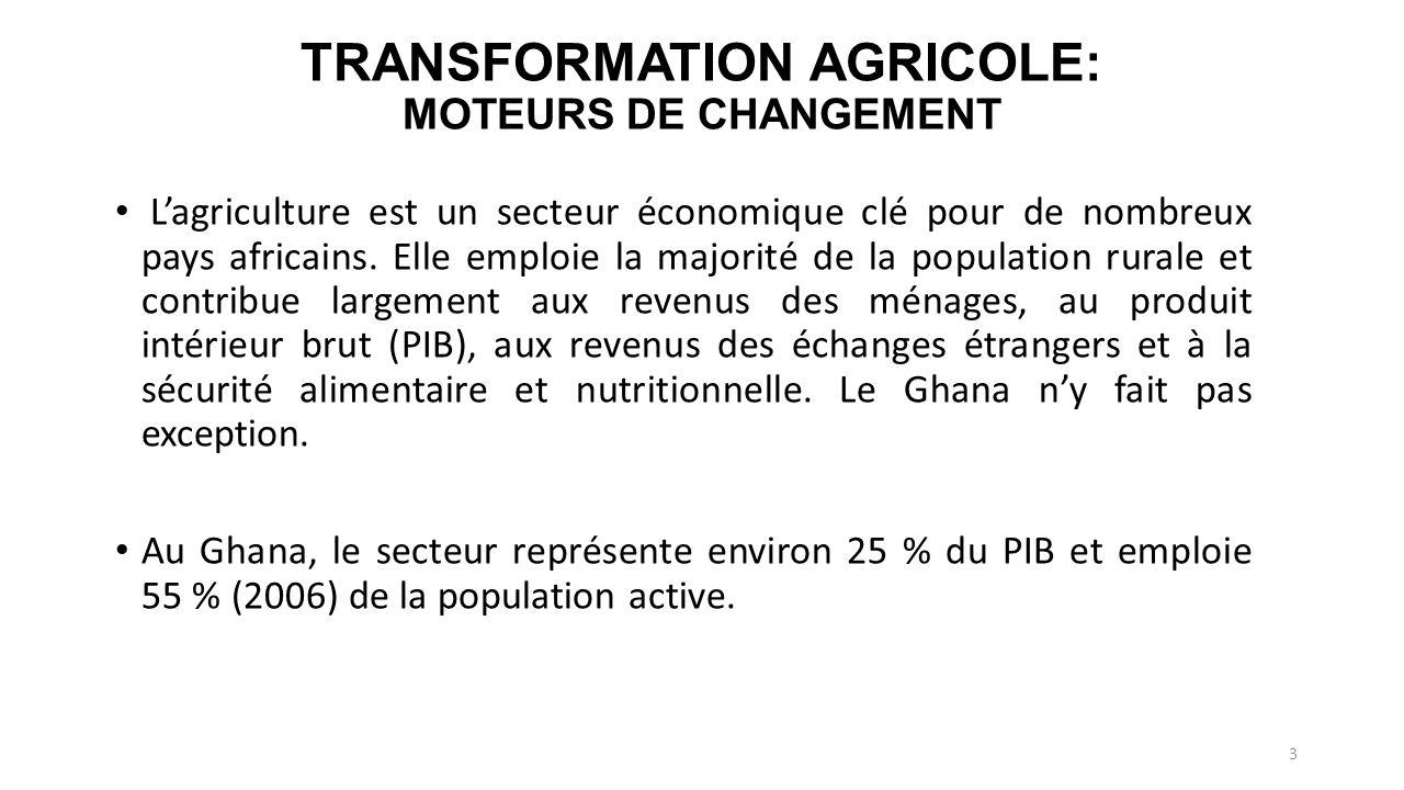 TRANSFORMATION AGRICOLE: MOTEURS DE CHANGEMENT Lagriculture est un secteur économique clé pour de nombreux pays africains.