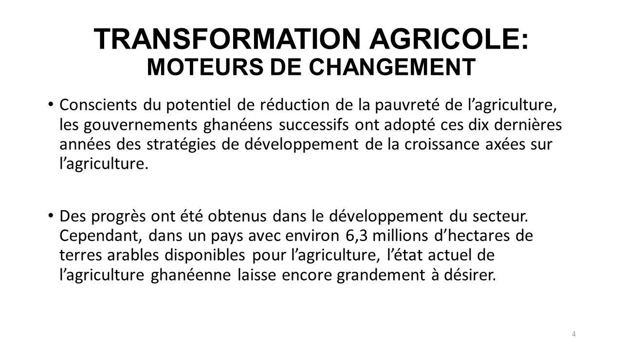 TRANSFORMATION AGRICOLE: MOTEURS DE CHANGEMENT Conscients du potentiel de réduction de la pauvreté de lagriculture, les gouvernements ghanéens successifs ont adopté ces dix dernières années des stratégies de développement de la croissance axées sur lagriculture.