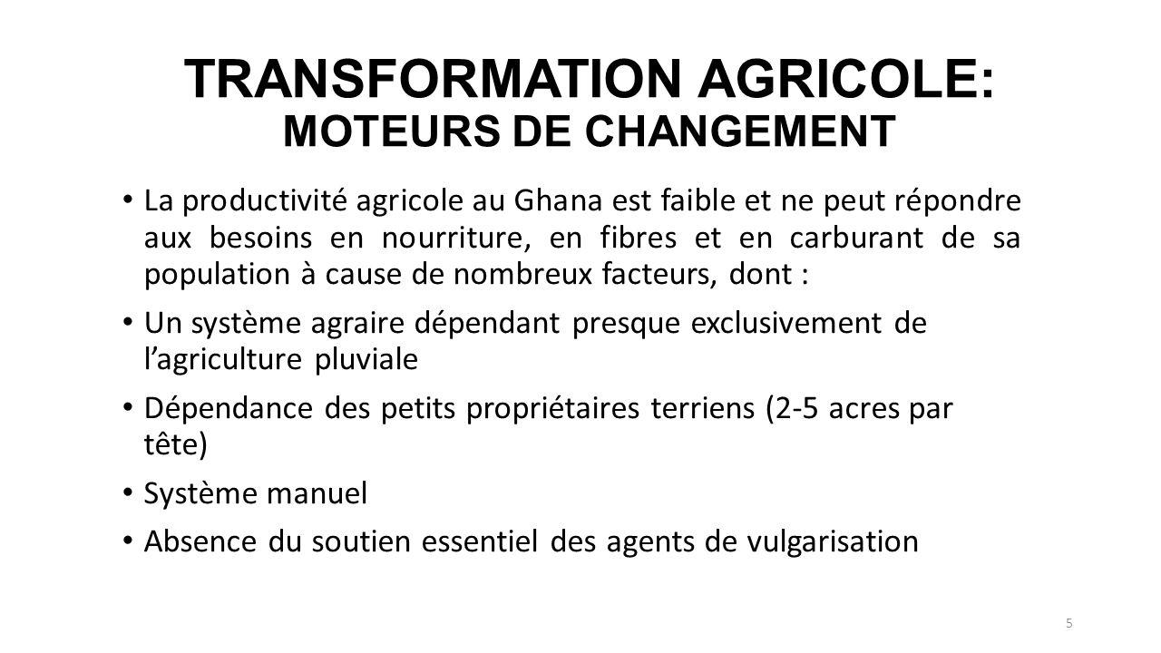 TRANSFORMATION AGRICOLE: MOTEURS DE CHANGEMENT La productivité agricole au Ghana est faible et ne peut répondre aux besoins en nourriture, en fibres e
