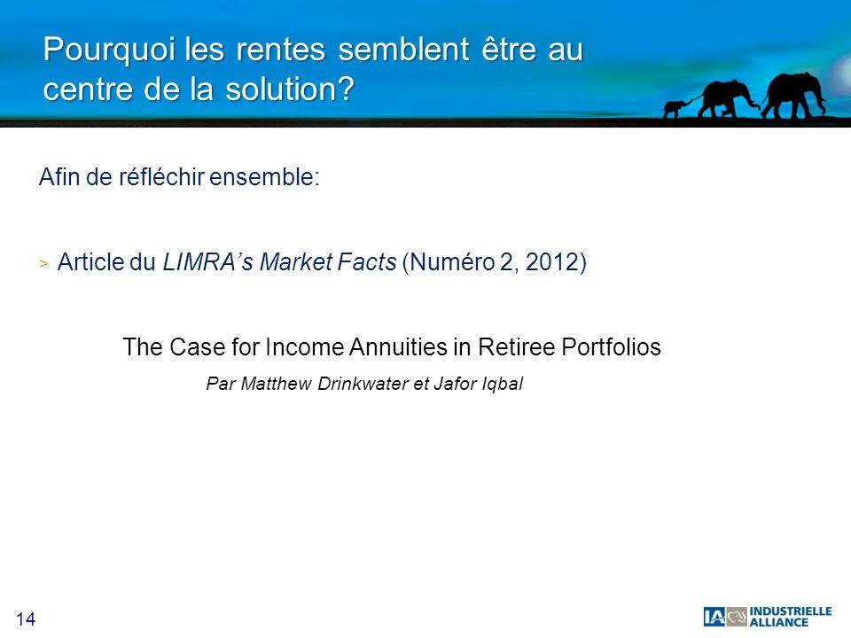 14 Pourquoi les rentes semblent être au centre de la solution? Afin de réfléchir ensemble: > Article du LIMRAs Market Facts (Numéro 2, 2012) The Case
