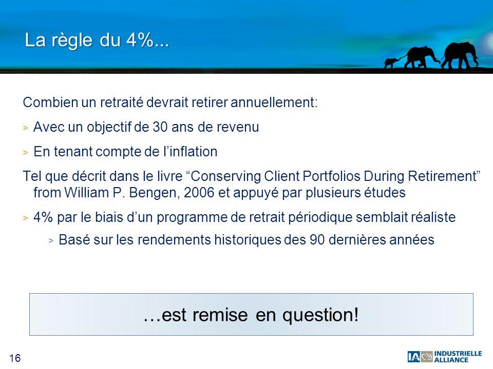 16 La règle du 4%... Combien un retraité devrait retirer annuellement: > Avec un objectif de 30 ans de revenu > En tenant compte de linflation Tel que