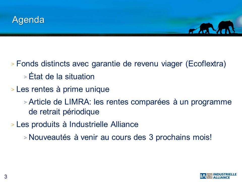3 Agenda > Fonds distincts avec garantie de revenu viager (Ecoflextra) > État de la situation > Les rentes à prime unique > Article de LIMRA: les rent