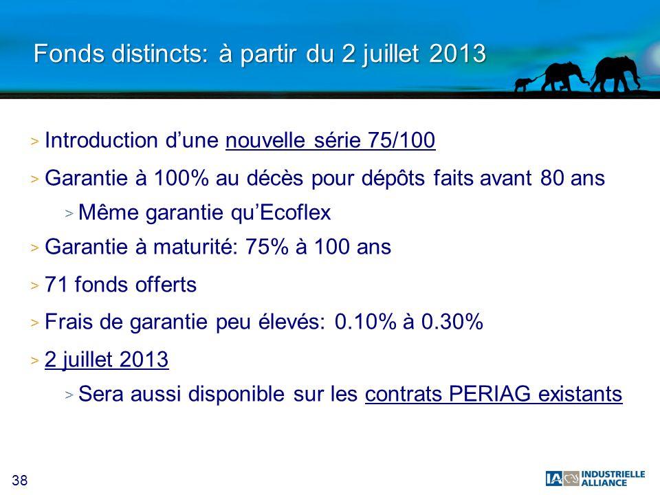 38 Fonds distincts: à partir du 2 juillet 2013 > Introduction dune nouvelle série 75/100 > Garantie à 100% au décès pour dépôts faits avant 80 ans > M
