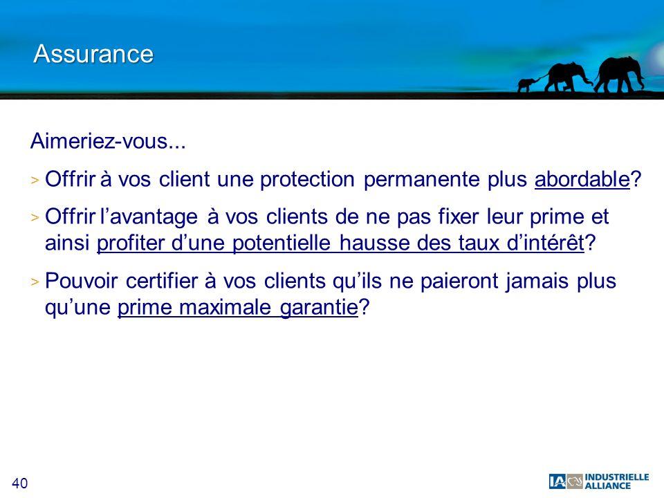 40 Assurance Aimeriez-vous... > Offrir à vos client une protection permanente plus abordable? > Offrir lavantage à vos clients de ne pas fixer leur pr