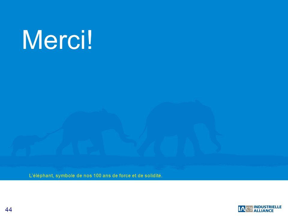 44 Léléphant, symbole de nos 100 ans de force et de solidité. Merci!