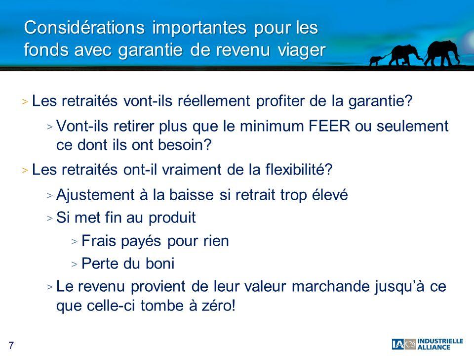 38 Fonds distincts: à partir du 2 juillet 2013 > Introduction dune nouvelle série 75/100 > Garantie à 100% au décès pour dépôts faits avant 80 ans > Même garantie quEcoflex > Garantie à maturité: 75% à 100 ans > 71 fonds offerts > Frais de garantie peu élevés: 0.10% à 0.30% > 2 juillet 2013 > Sera aussi disponible sur les contrats PERIAG existants