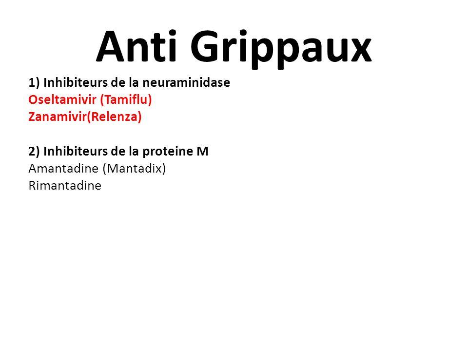 Anti Grippaux 1) Inhibiteurs de la neuraminidase Oseltamivir (Tamiflu) Zanamivir(Relenza) 2) Inhibiteurs de la proteine M Amantadine (Mantadix) Rimant
