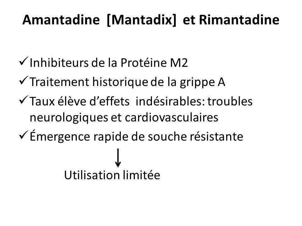Amantadine [Mantadix] et Rimantadine Inhibiteurs de la Protéine M2 Traitement historique de la grippe A Taux élève deffets indésirables: troubles neur
