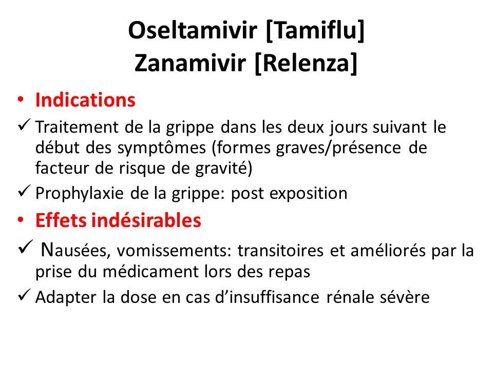 Oseltamivir [Tamiflu] Zanamivir [Relenza] Indications Traitement de la grippe dans les deux jours suivant le début des symptômes (formes graves/présen