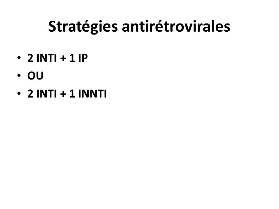 Stratégies antirétrovirales 2 INTI + 1 IP OU 2 INTI + 1 INNTI
