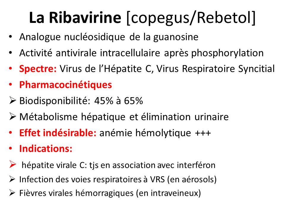 La Ribavirine [copegus/Rebetol] Analogue nucléosidique de la guanosine Activité antivirale intracellulaire après phosphorylation Spectre: Virus de lHé