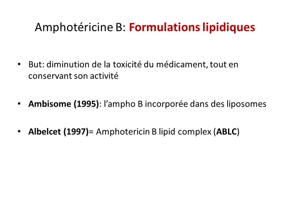 Amphotéricine B: Formulations lipidiques But: diminution de la toxicité du médicament, tout en conservant son activité Ambisome (1995): lampho B incor