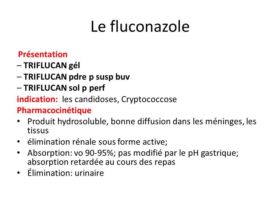 Le fluconazole Présentation – TRIFLUCAN gél – TRIFLUCAN pdre p susp buv – TRIFLUCAN sol p perf indication: les candidoses, Cryptococcose Pharmacocinét