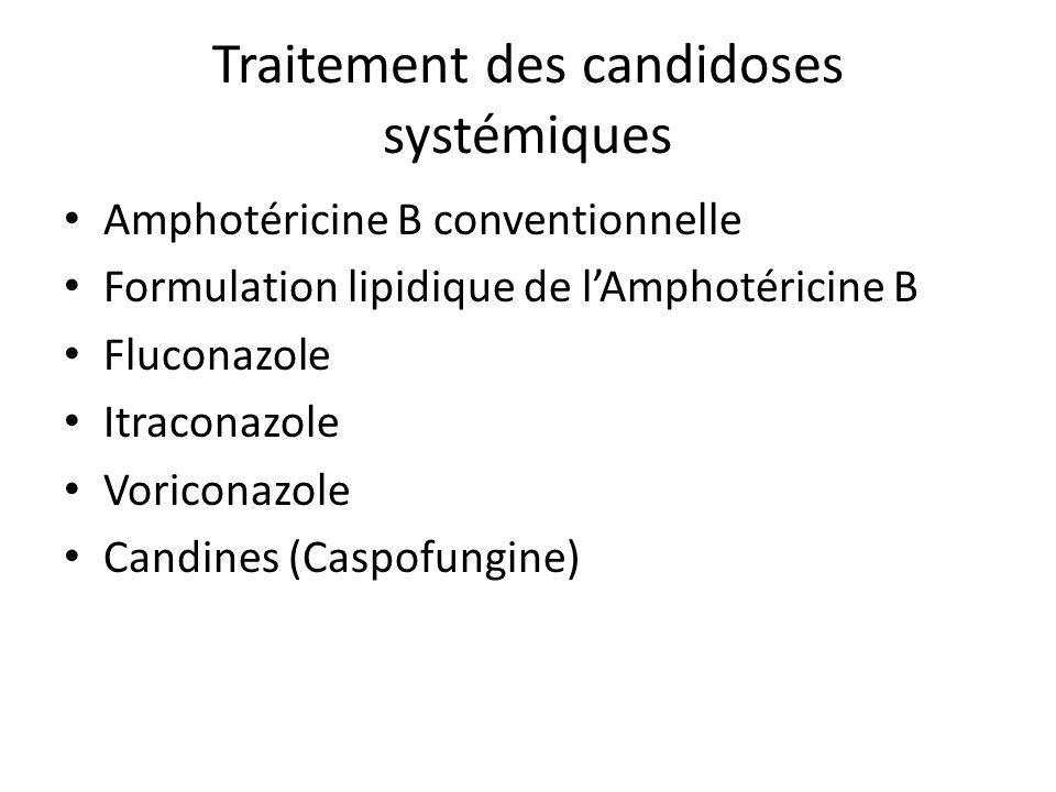 Traitement des candidoses systémiques Amphotéricine B conventionnelle Formulation lipidique de lAmphotéricine B Fluconazole Itraconazole Voriconazole