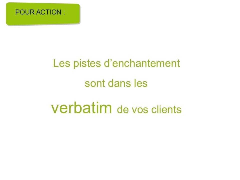 Les pistes denchantement sont dans les verbatim de vos clients POUR ACTION :